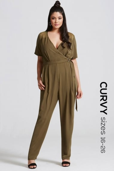 Khaki Lace Sleeve and D Ring Jumpsuit