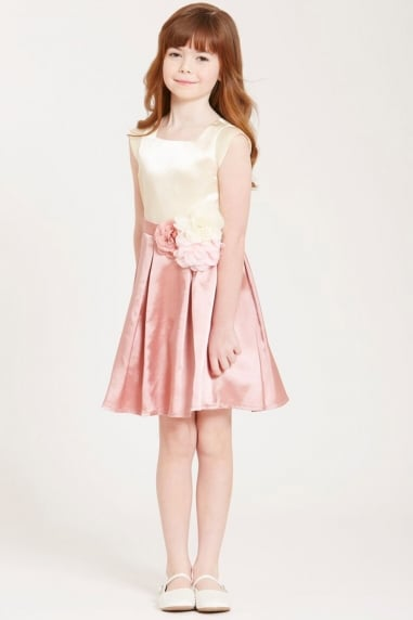 Cream and Pink Corsage Dress