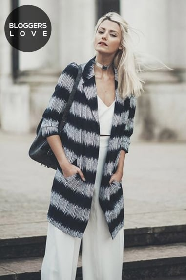 Grey And Black Stripe Jacket With 3/4 Sleeves