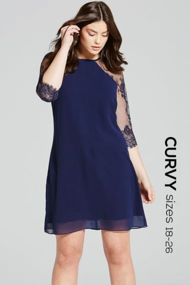 Navy Lace Tunic Dress