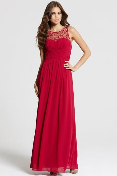 Red Embellished Neck Maxi Dress