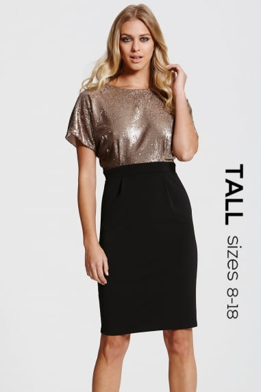 Tall Black and Gold Sequinned Dress