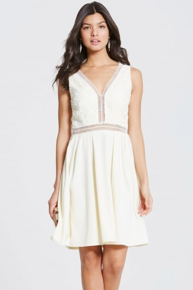 Cream Crochet Trim Skater Dress