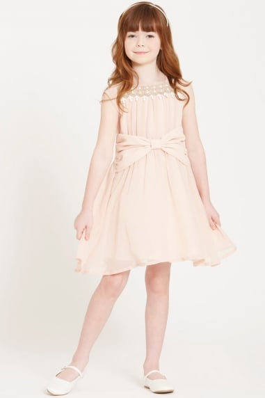 Nude Bow Waist Dress with Embroidered Neck