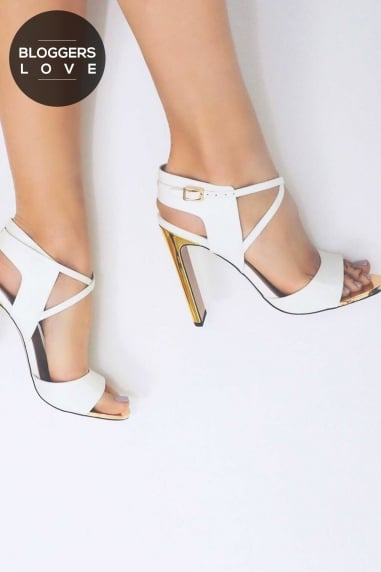 Luella White Cut Out Heeled Sandal