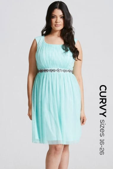 Seafoam Embellished Waist Prom Dress