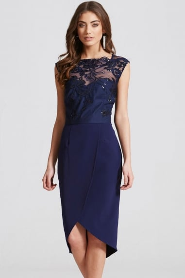 Navy Embroidered Sequin Midi Dress