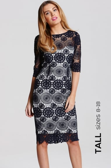 Navy Crochet Lace 3/4 Sleeve Dress