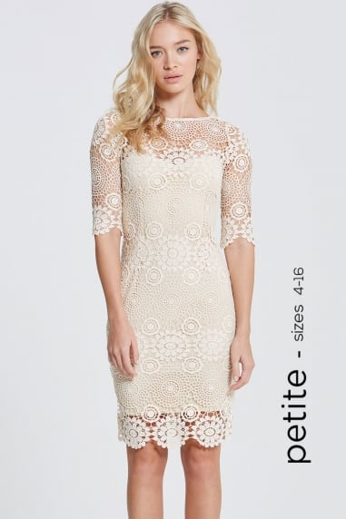 Cream Crochet Lace 3/4 Sleeve Dress