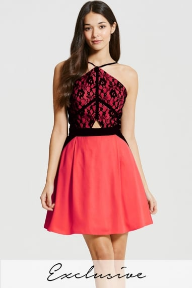 Coral and Black Lace Overlay Mini Dress