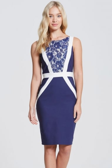 Navy and Cream Lace Panel Dress