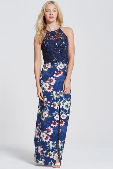 Navy Floral Bloom Print Maxi Dress