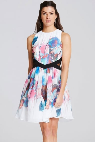 Watercolour Print Cut Out Prom Dress