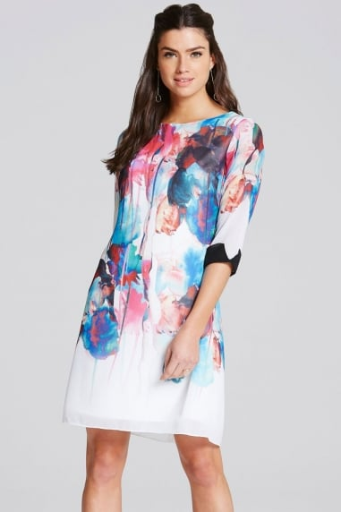 Watercolour Print Exposed Back Shift Dress