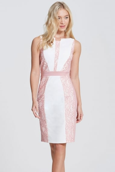 Cream and Blush Panel Lace Trim Dress