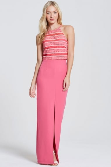 Pink Stripe Lace Halter Maxi Dress