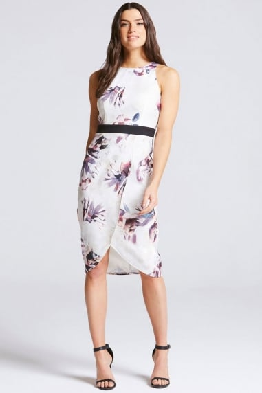 Floral Print Key Hole Back Midi Dress