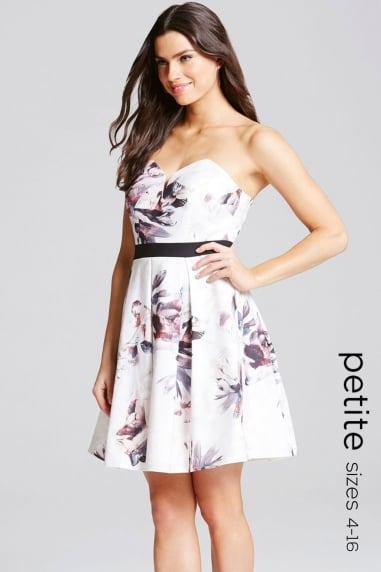 Floral Print Sweetheart Neck Mini Dress