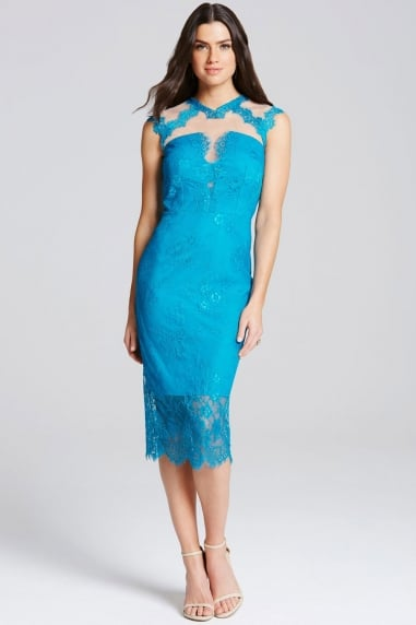 Turquoise Lace High Neck Bodycon Dress