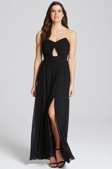 Black Cut Out Bandeau Maxi Dress