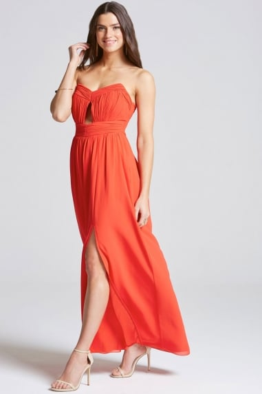 Tomato Red Cut Out Bandeau Maxi Dress