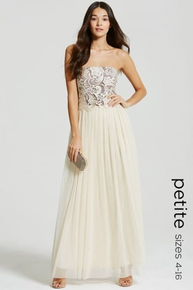 Nude and Mocca Lace Overlay Bandeau Maxi Dress