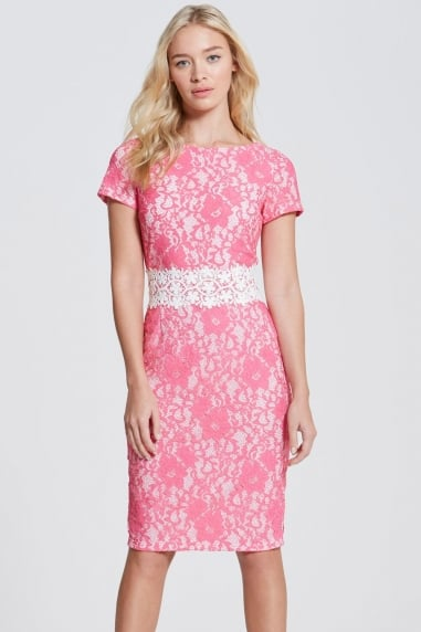 Pink Lace Bodycon Dress with Crochet Trim