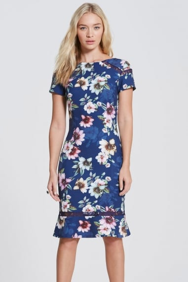 Navy Floral Bloom Peplum Hem Dress