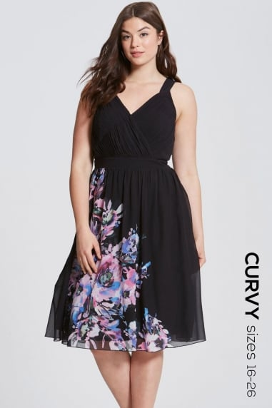 Floral Placement Fit and Flare Dress
