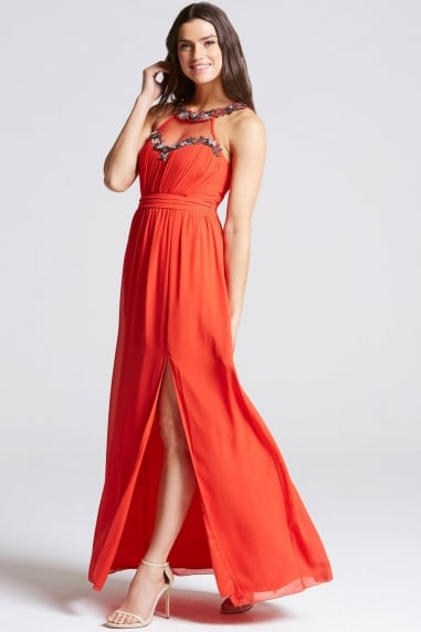 Tomato Red Embellished Trim Maxi Dress