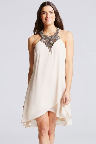 Beige Embellished Neck Halter Dress