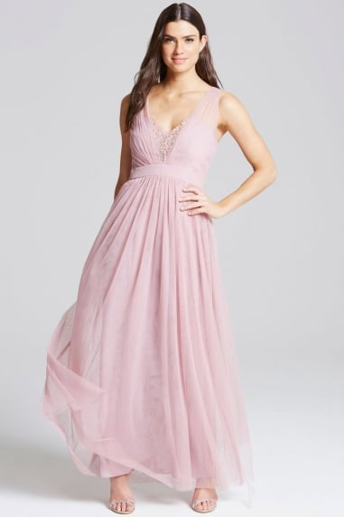 Rose Jewel Bust Maxi Dress