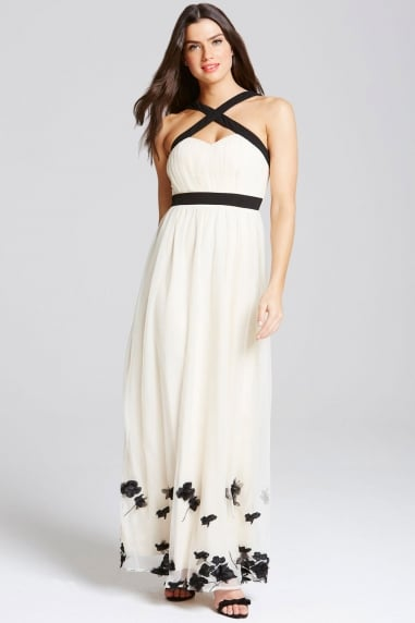 Beige Petal Applique Maxi Dress