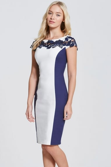 Navy and Cream Lace Top Panel Dress