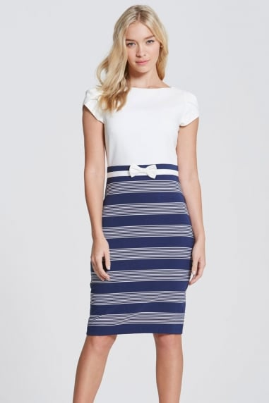 Navy Stripe Skirt Dress with Bow Waist