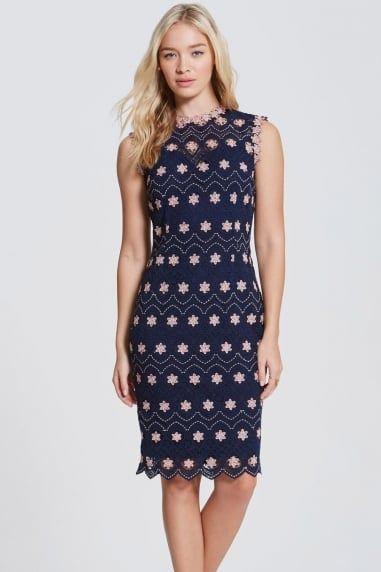 Navy and Blush Crochet High Neck Dress
