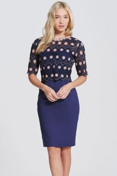 Navy and Blush Crochet Top Dress