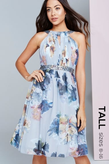 Floral Print Chiffon Prom Dress