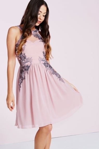 Rose Gunmetal Embroidery Mini Dress