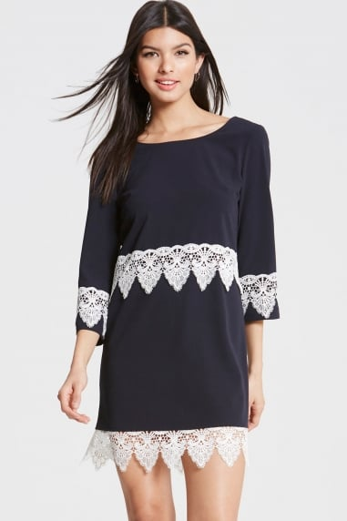 Navy and White Lace Hem Shift Dress