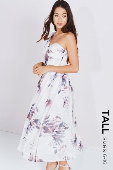 Petal Print Shoulder Embellished Midi Dress