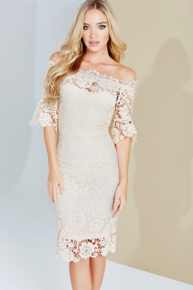 Cream Crochet Lace Bardot Dress