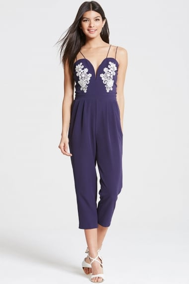 Navy Plunge Neck Jumpsuit With Lace Motif