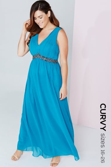 Turquoise Embellished Waist Maxi Dress