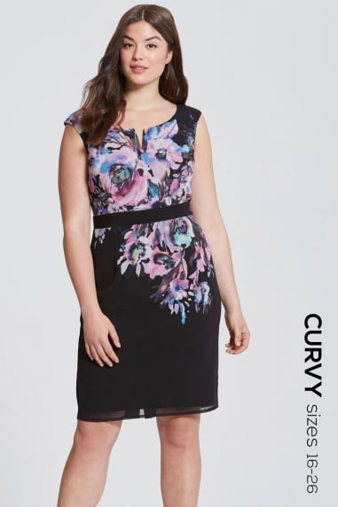 Floral Placement Bodycon Dress