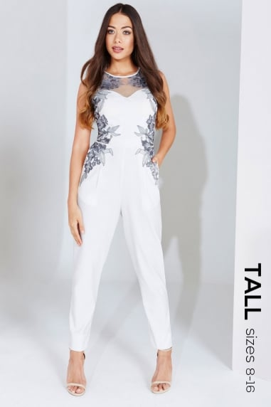 Cream Embroidered Panel Jumpsuit