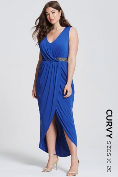 Cobalt Wrap Maxi Dress With Embellished Waist