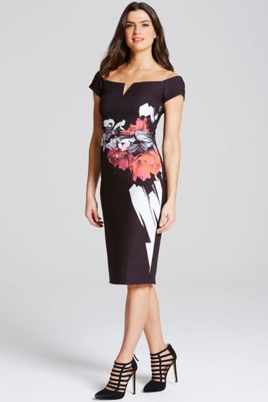 Rose Print Bardot Wiggle Dress