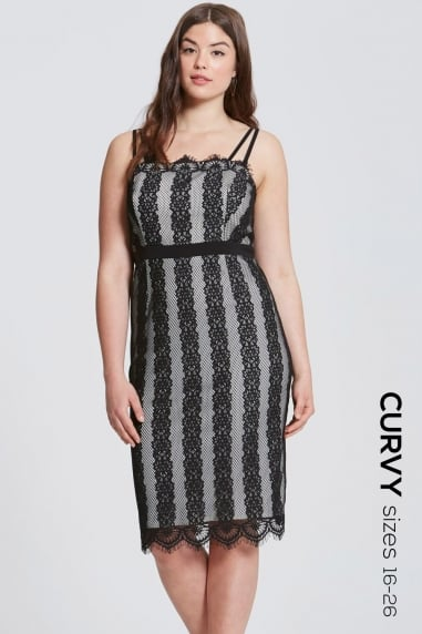 Monochrome Lace Stripe Midi Dress