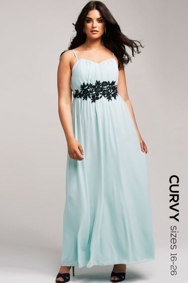 Mint Embroidered Waist Maxi Dress